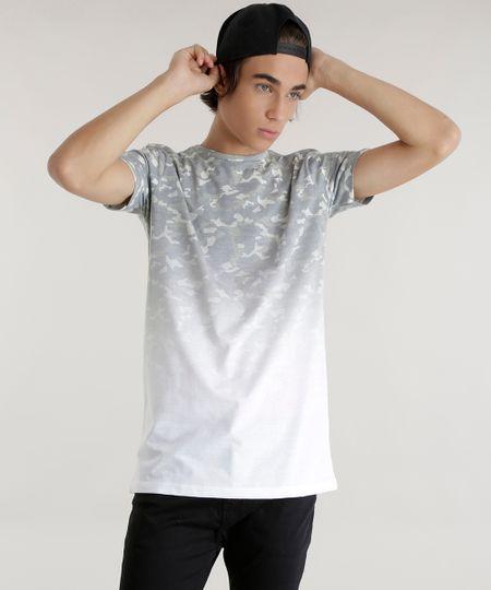 Camiseta Longa Estampada Camuflada Branca