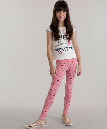 Conjunto de Blusa Off White+ Calça Legging Estampada Rosa