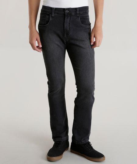 Calça Jeans Slim em Moletom Preta