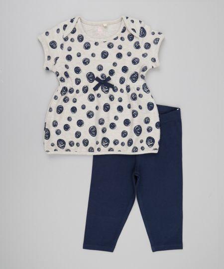 Conjunto de Blusa em Moletom Estampada Bege + Calça Legging Azul Marinho