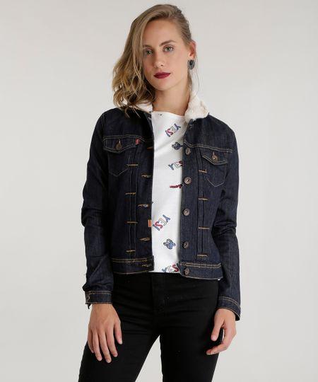 Jaqueta jeans com Pelos Azul Escuro