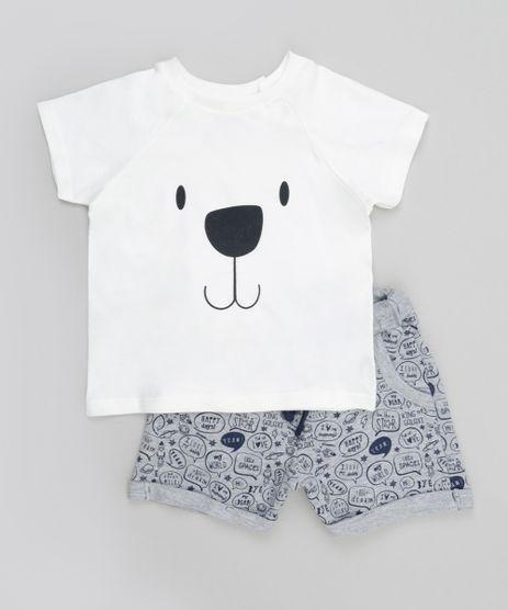 Conjunto-de-Camiseta-Off-White---Short-Estampado-em-Moletom-Cinza-Mescla-8607765-Cinza_Mescla_1