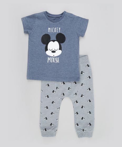 Conjunto-de-Camiseta-Azul---Calca-em-Moletom-Estampada-Mickey-Cinza-Mescla-8497649-Cinza_Mescla_1
