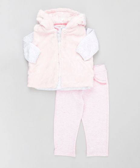 Conjunto-de-Colete-em-Plush---Camiseta-Minnie---Calca-em-Moletom-em-Algodao---Sustentavel-Rosa-Claro-8489109-Rosa_Claro_1