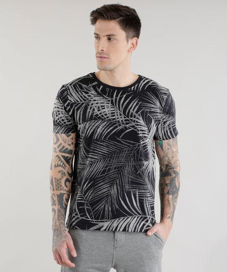 Camiseta-Estampada-de-Folhagem-Preta-8582124-Preto_1