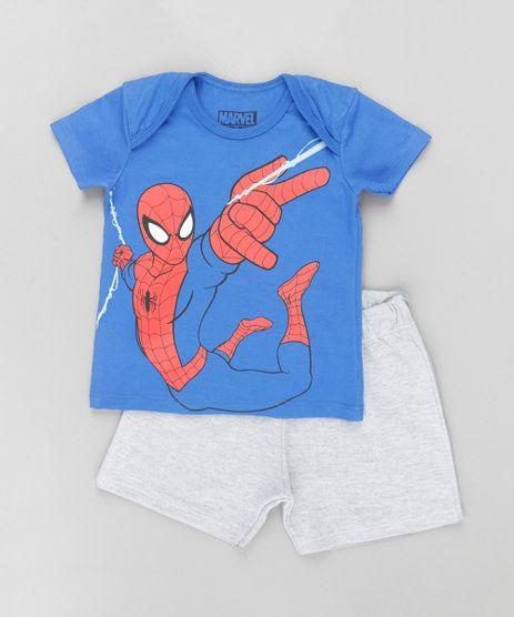 Conjunto-Homem-Aranha-de-Camiseta-Azul---Short-em-Moletom-Cinza-Mescla-8609817-Cinza_Mescla_1