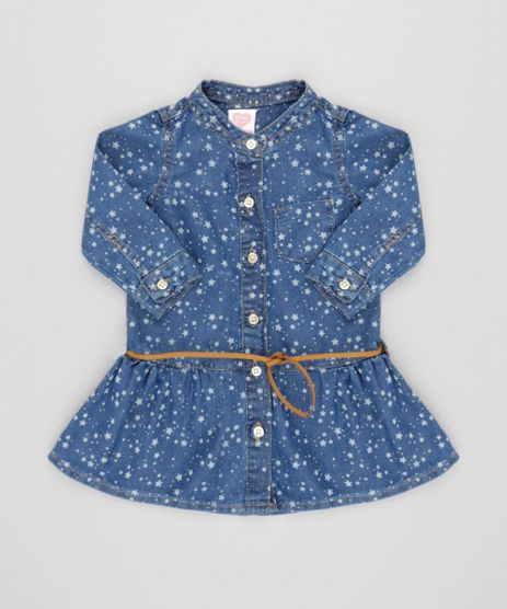 Vestido-Jeans-Estampado-de-Estrelas-com-Cinto-Azul-Medio-8570689-Azul_Medio_1