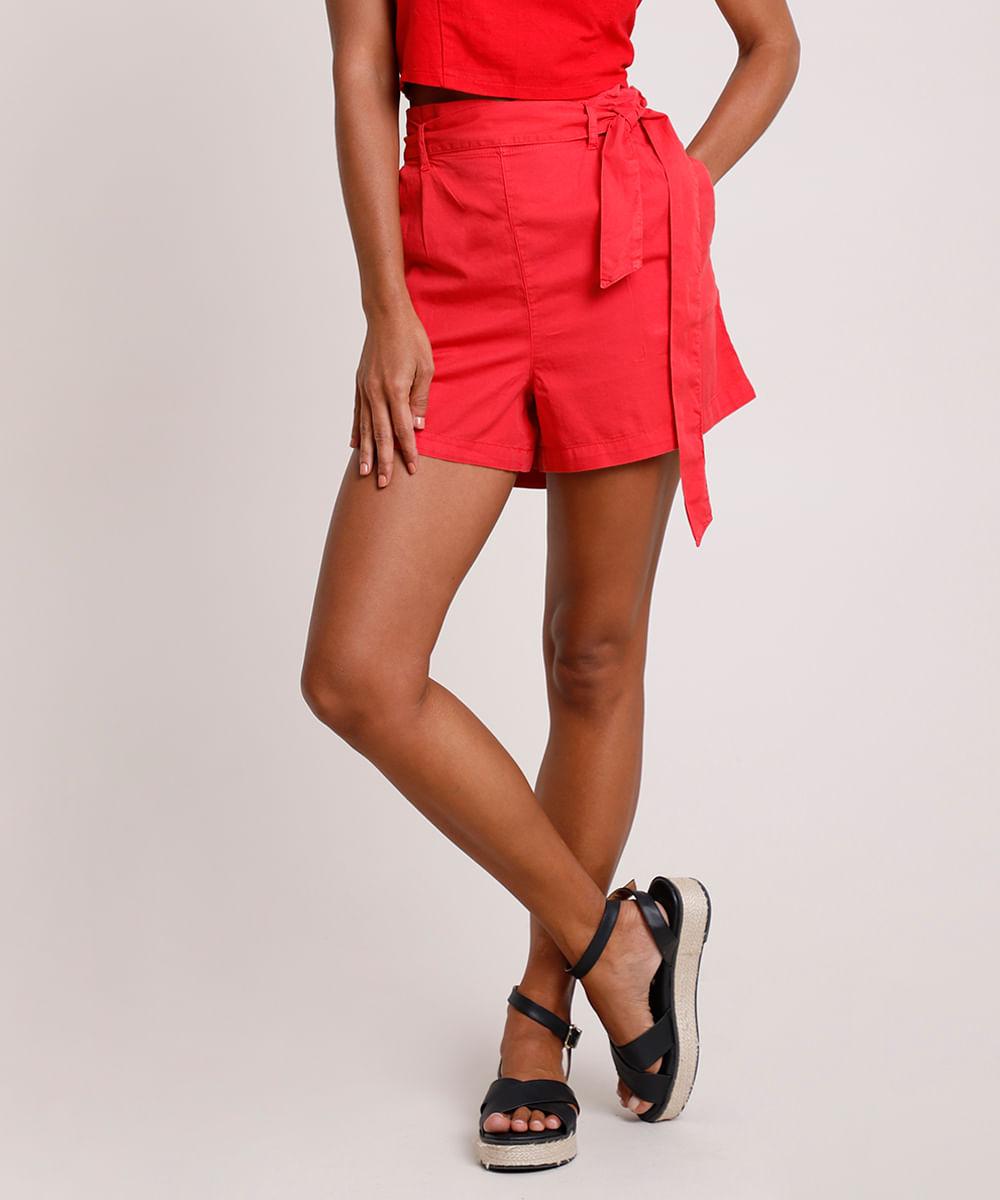 CeA Short Feminino Clochard Cintura Super Alta com Bolsos Vermelho