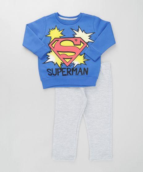 Conjunto-Super-Homem-de-Blusao-Azul---Calca-em-Moletom-Cinza-Mescla-8611931-Cinza_Mescla_1