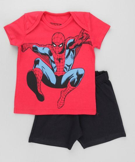 Conjunto-Homem-Aranha-de-Camiseta-Vermelha---Bermuda-em-Moletom-Preta-8612495-Preto_1