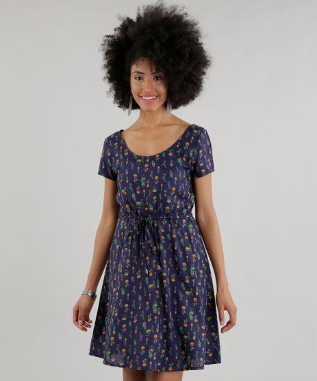 Vestido-Estampado-de-Abacaxi-Azul-Marinho-8501293-Azul_Marinho_1