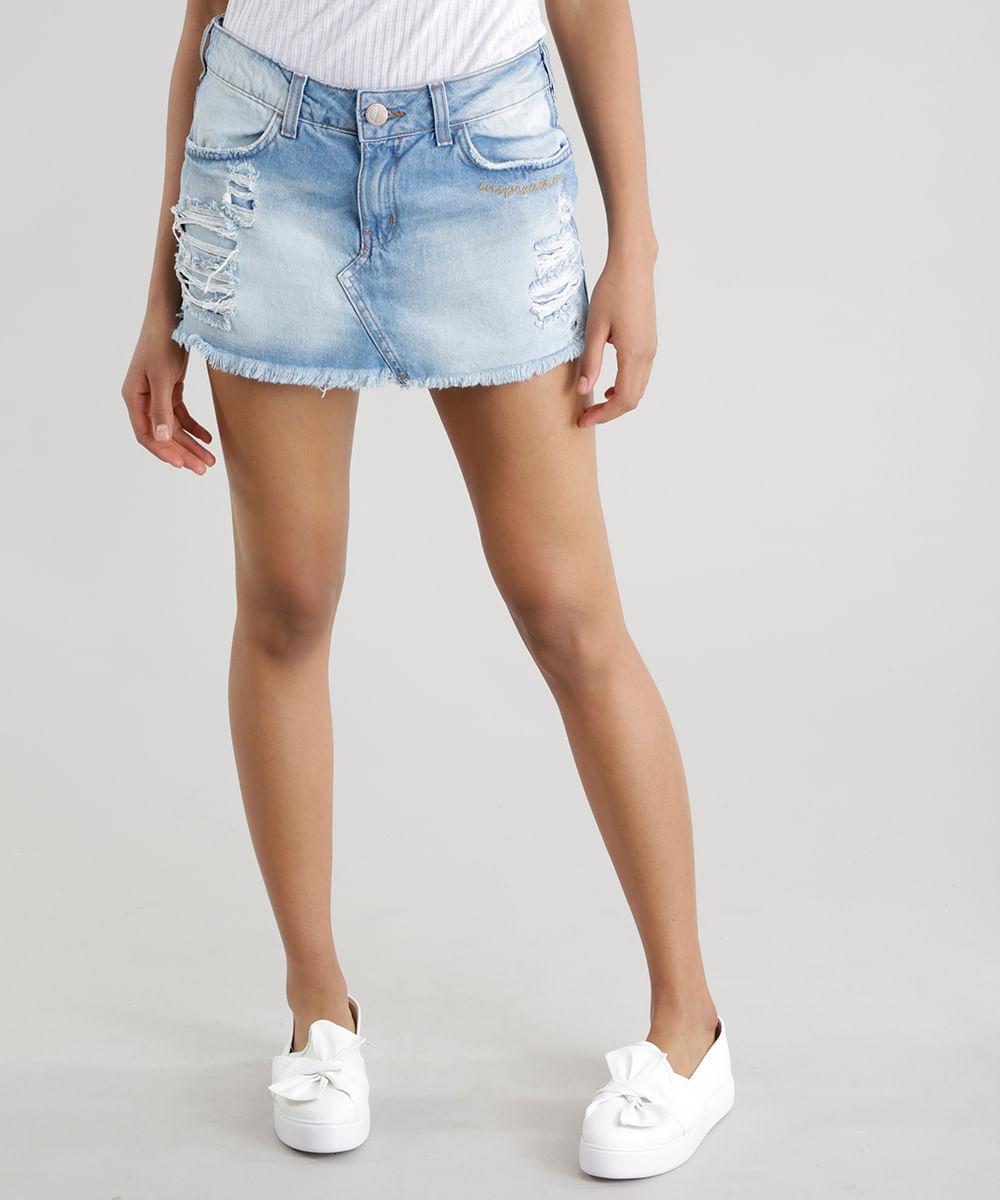 6267b0076 CEA. Short Saia Jeans Azul Claro