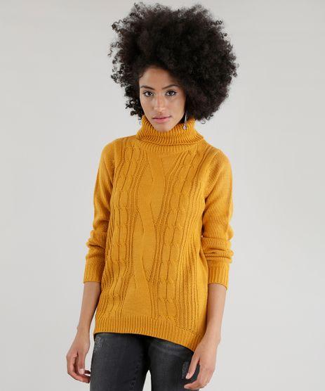 Sueter-em-Trico-com-Gola-Alta-Amarelo-Escuro-8490096-Amarelo_Escuro_1