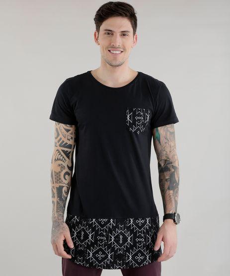 Camiseta-Longa-com-Estampa-Etnica-Preta-8578484-Preto_1