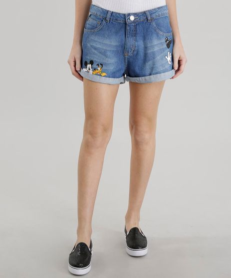 Short-Jeans-Relaxed-Mickey-com-Patchs-Azul-Escuro-8632178-Azul_Escuro_1