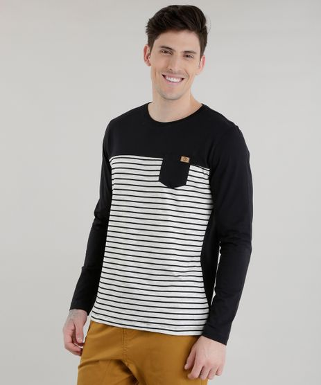 Camiseta-com-Estampa-de-Listras-Preta-8581855-Preto_1