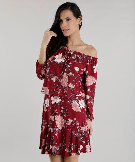 Vestido-Ombro-a-Ombro-Estampado-Floral-Vinho-8602775-Vinho_1