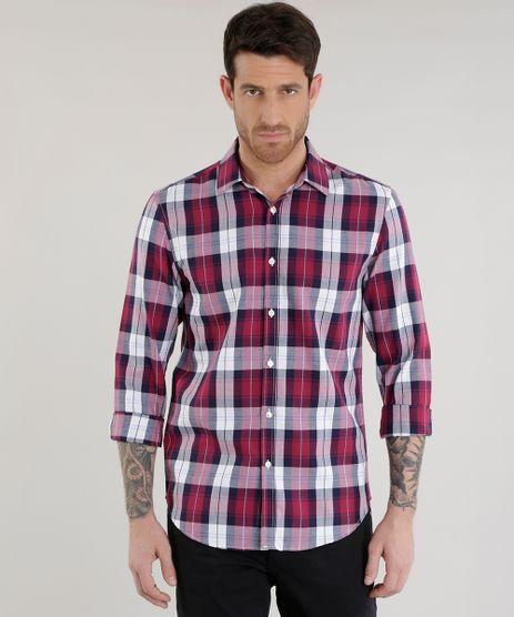 Camisa-Slim-Xadrez-em-Algodao---Sustentavel--Vinho-8454865-Vinho_1