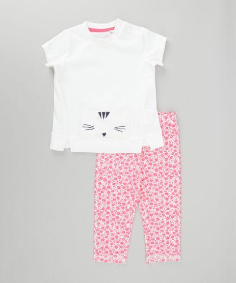 Conjunto-de-Blusa--Gatinho--Off-White---Calca-Legging-Estampada-Floral-em-Algodao---Sustentavel-Rosa-8497634-Rosa_1