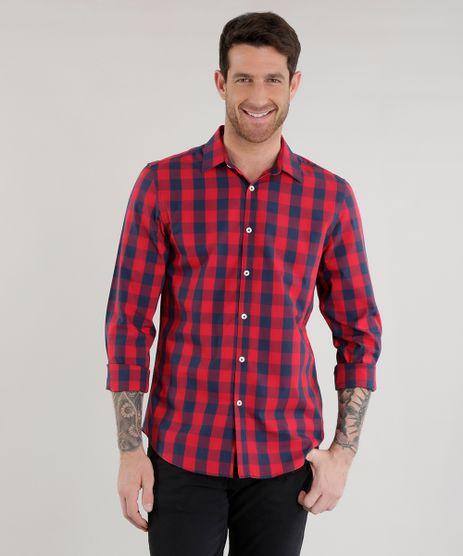 Camisa-Slim-Xadrez-em-Algodao---Sustentavel--Vermelha-8454883-Vermelho_1