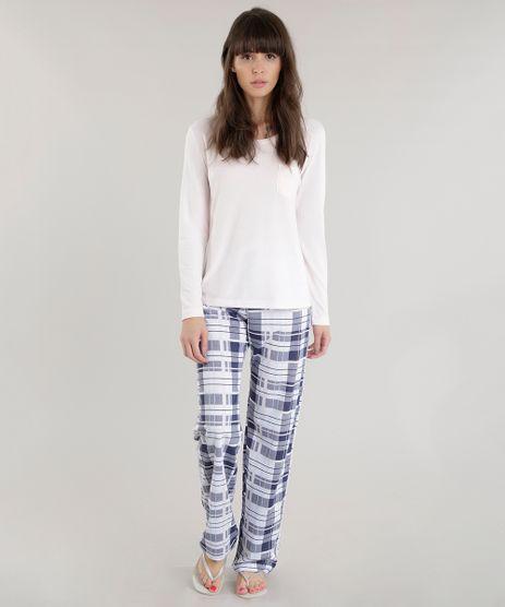 Pijama-com-Estampa-Xadrez-Rosa-Claro-8601286-Rosa_Claro_1