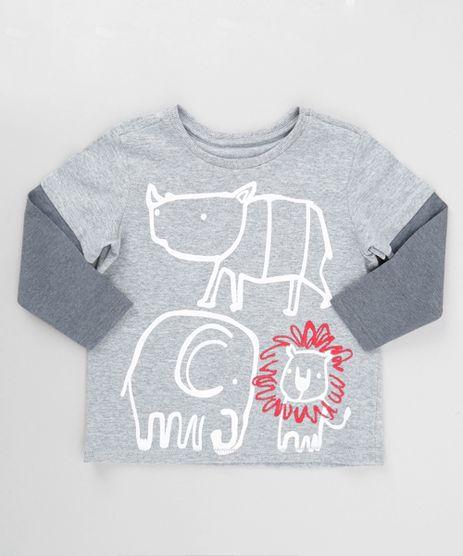 Camiseta-com-Estampa-de-Bichos-Cinza-Mescla-8620420-Cinza_Mescla_1