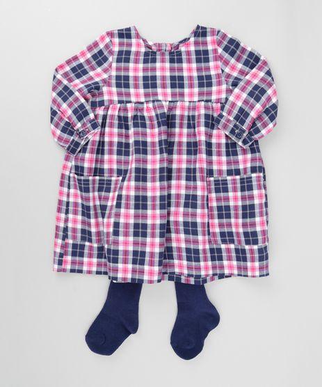 Vestido-Xadrez-Rosa---Meia-Calca-em-Algodao---Sustentavel-Azul-Marinho-8535127-Azul_Marinho_1
