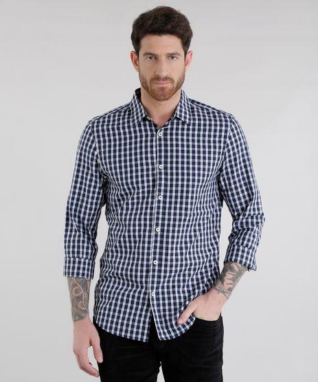 Camisa-Slim-Xadrez-em-Algodao---Sustentavel-Azul-Marinho-8454877-Azul_Marinho_1