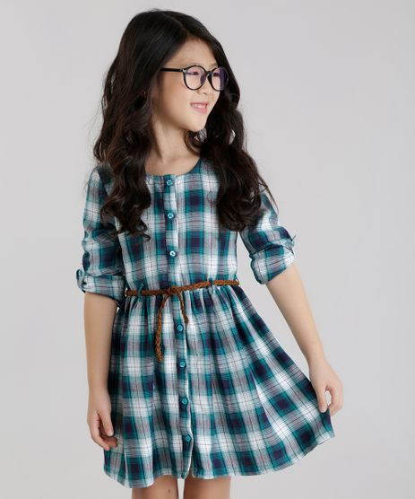 Vestido-Xadrez-com-Cinto-Verde-8443461-Verde_1