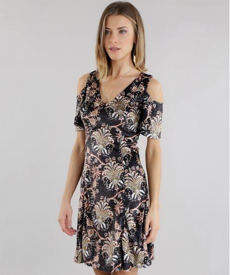 Vestido-Open-Shoulder-Estampado-Floral-em-Veludo-Preto-8655731-Preto_1