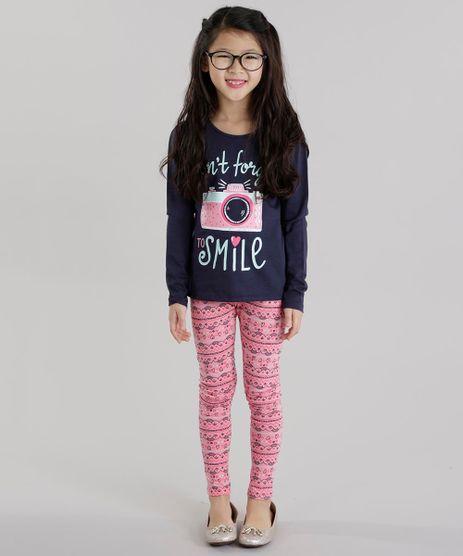 Conjunto--Don-t-Forget-To-Smile--de-Blusa-Azul-Marinho---Calca-Legging-Estampada-Rosa-8628031-Rosa_1