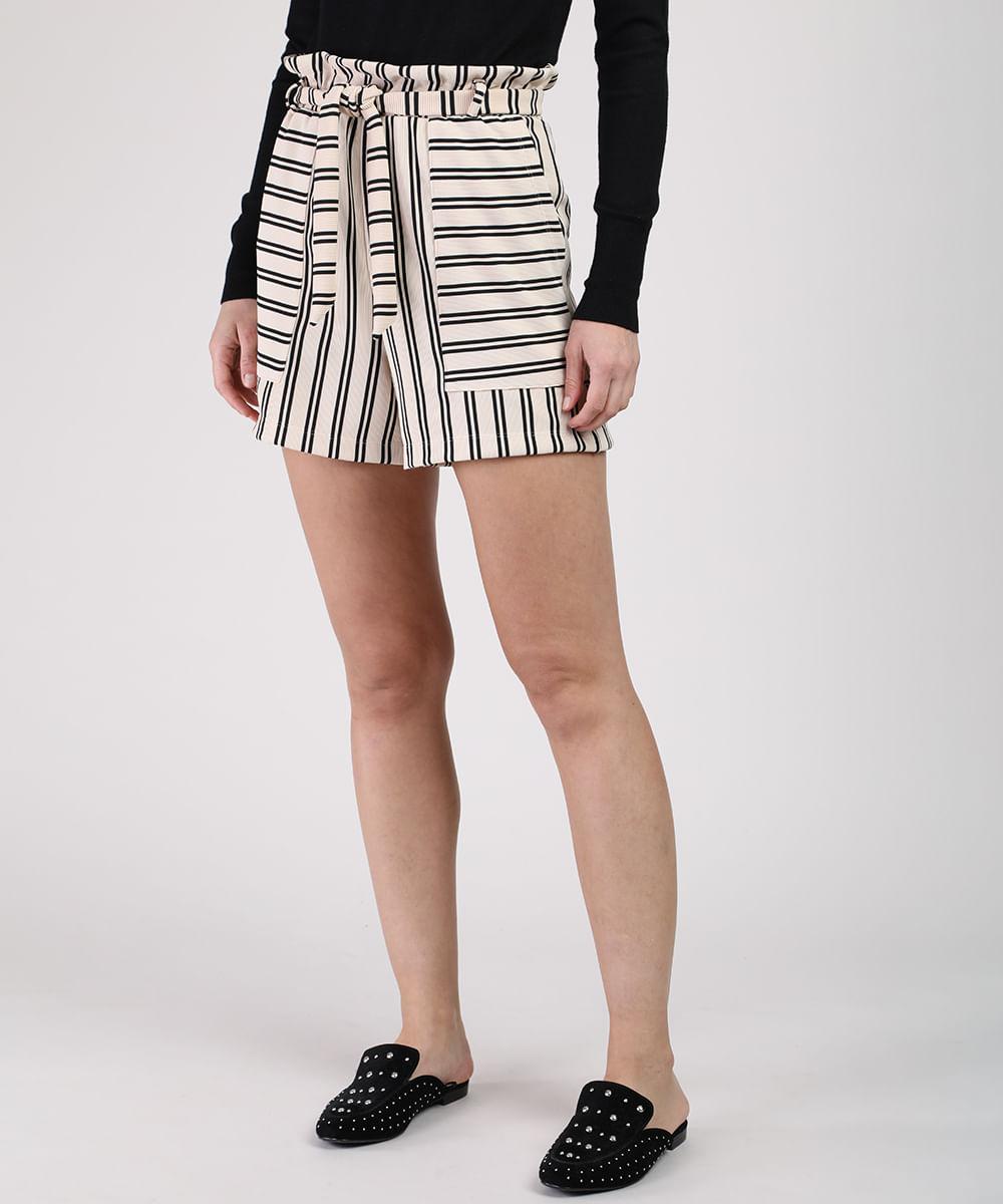 CeA Short Feminino Clochard Cintura Alta Listrado com Bolsos e Faixa para Amarrar Bege Claro