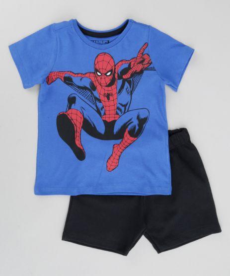 Conjunto-de-Camiseta-Azul---Bermuda-Homem-Aranha-Preta-8664319-Preto_1