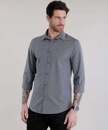 Camisa-Slim-Listrada-em-Algodao---Sustentavel-Chumbo-8580058-Chumbo_1
