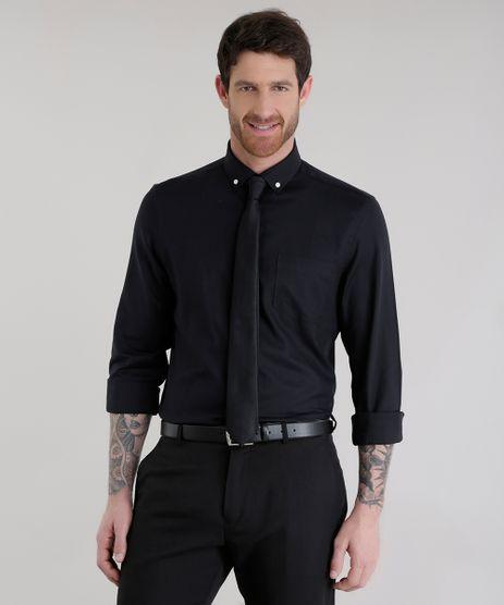 Camisa-Comfort---Gravata-em-Jacquard-Preta-8581613-Preto_1