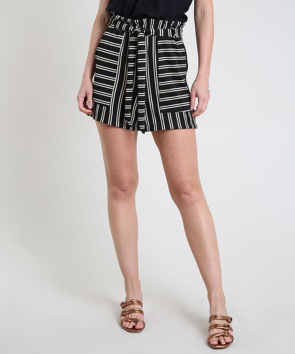 CeA Short Feminino Reto Cintura Super Alta Listrado com Faixa para Amarrar Preto