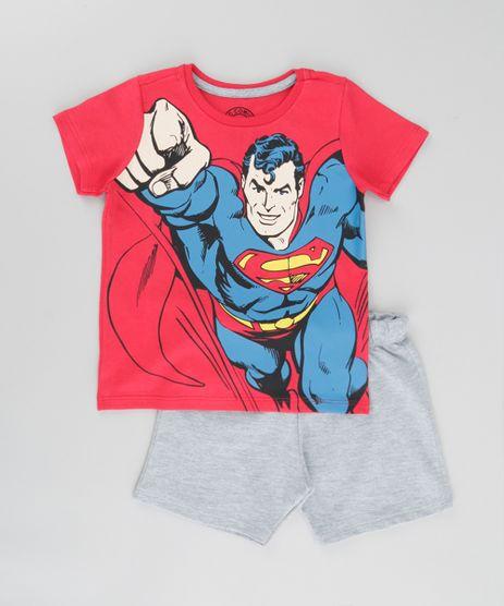 Conjunto-Super-Homem-de-Camiseta-Vermelha---Bermuda-em-Moletom-Vermelha-8664337-Vermelho_1