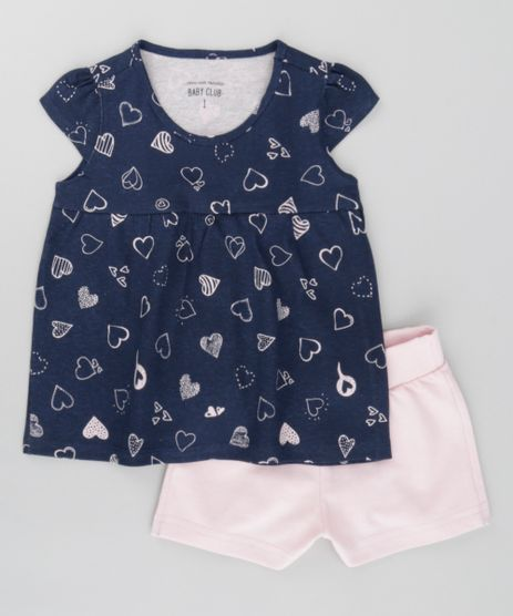 Conjunto-de-Blusa-Estampada-de-Coracoes-Azul-Marinho---Short-em-Moletom-Rosa-Claro-8503738-Rosa_Claro_1