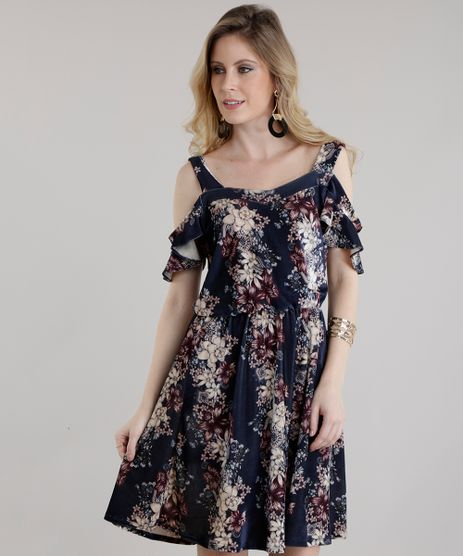 Vestido-Open-Shoulder-Estampado-Floral-em-Veludo-Azul-Marinho-8652929-Azul_Marinho_1