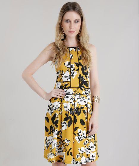 Vestido estampado de amarelo