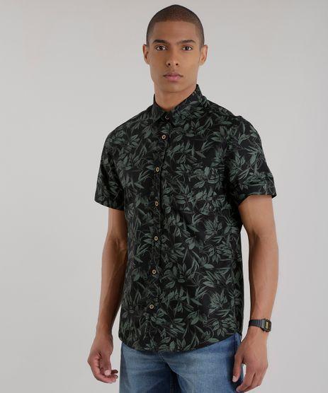 Camisa-Estampada-de-Folhagem-Preta-8394874-Preto_1