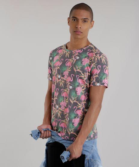 Camiseta-Estampada-de-Flamingos-Chumbo-8683198-Chumbo_1
