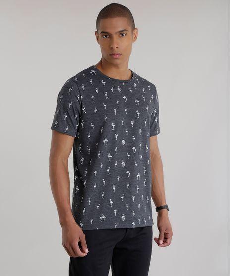Camiseta-Estampada-de-Flamingos-Cinza-Mescla-Escuro-8680416-Cinza_Mescla_Escuro_1