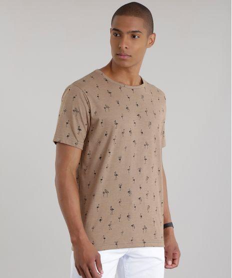 Camiseta-Estampada-de-Flamingos-Marrom-Claro-8680416-Marrom_Claro_1
