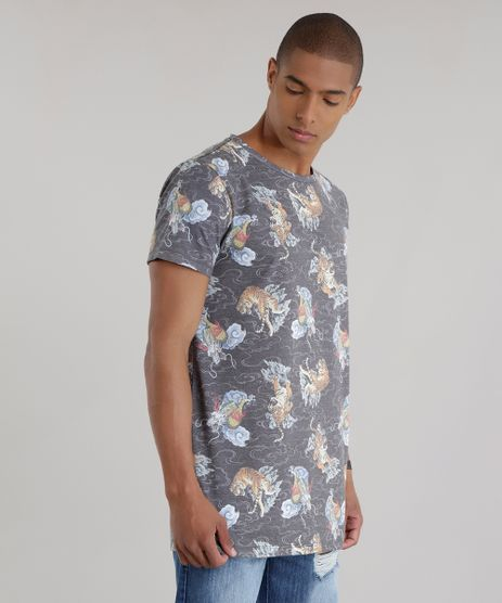 Camiseta-Longa-Estampada-de-Tigres-Chumbo-8683212-Chumbo_1
