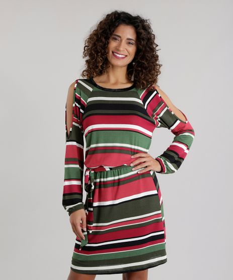 Vestido-open-Shoulder-Listrado-Verde-Militar-8696570-Verde_Militar_1
