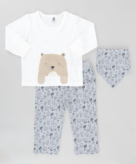 Conjunto-de-Camiseta--Urso--Off-White---Calca-Estampada-em-Moletom---Babador-Bandana-Estampado-Cinza-Mescla-8495927-Cinza_Mescla_1