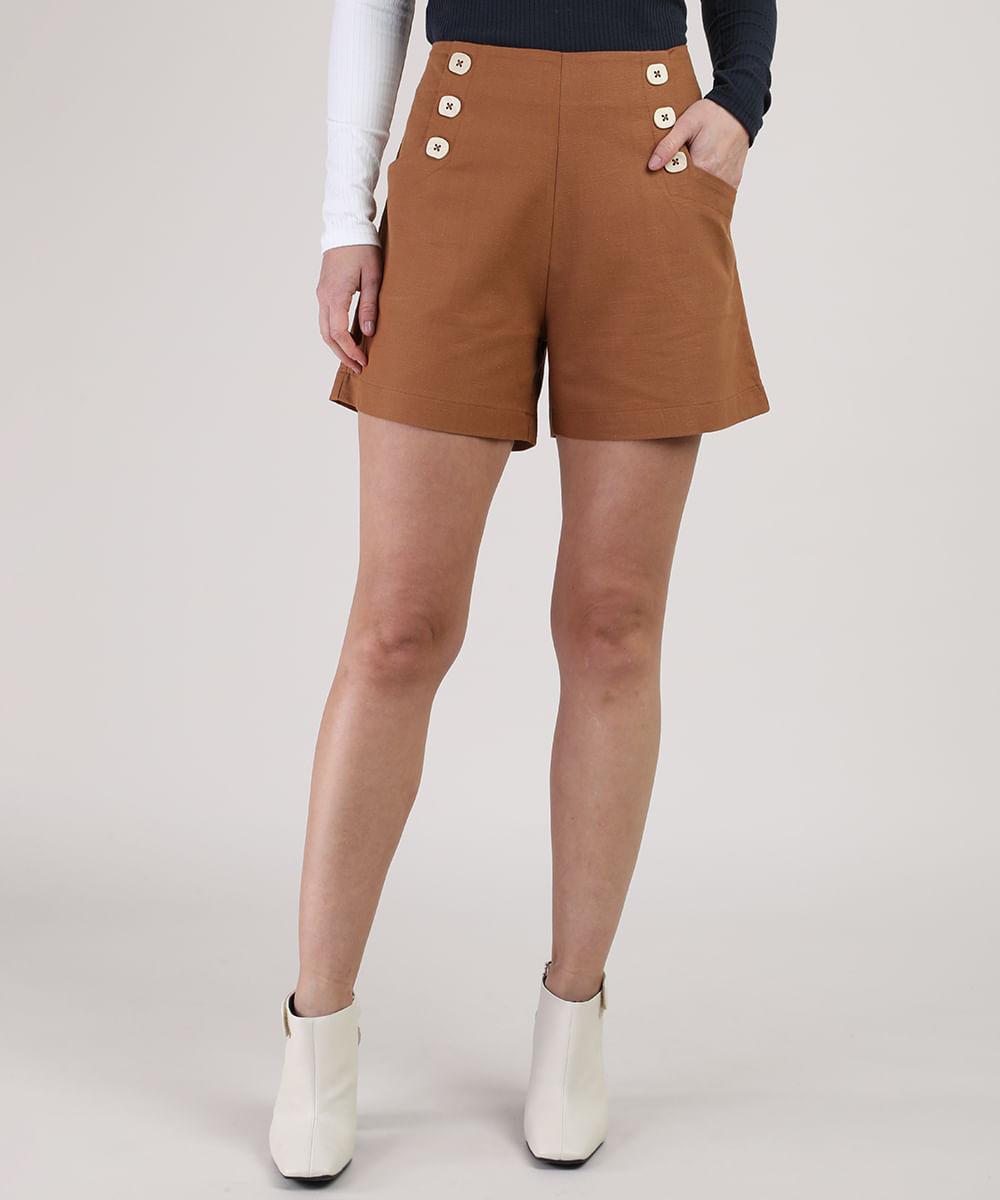 CeA Short Feminino Cintura Alta com Bolsos e Botões Marrom