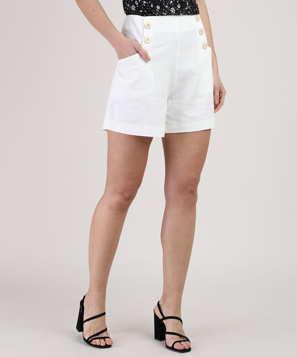 CeA Short Feminino Cintura Alta com Bolsos e Botões Branco