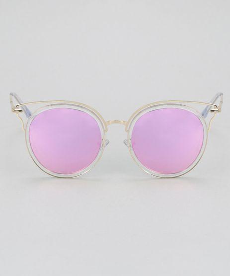 Oculos-de-Sol-Redondo-Feminino-Oneself-Dourado-8732531-Dourado_1